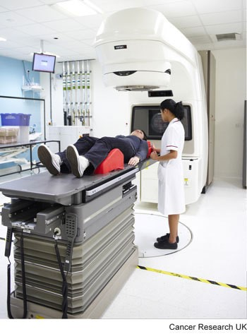 Photograph of a radiotherapy machine which is used to give external radiotherapy.
