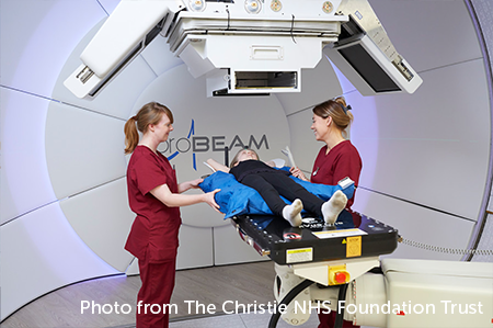 Photo of a child having proton beam therapy