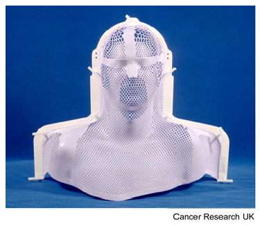 Photograph of a mesh plastic mask used for radiotherapy for cancer of the head and neck and brain