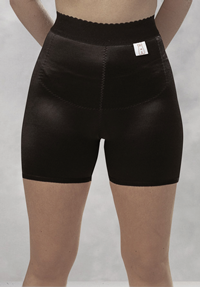 Photograph of a compression shorts for women with genital or tummy (pelvic) swelling (lymphoedema).